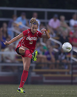 Boston University forward Madison Clemens (8) passes the ball. After 2 complete overtime periods, Boston College tied Boston University, 1-1, after 2 overtime periods at Newton Soccer Field, August 19, 2011.