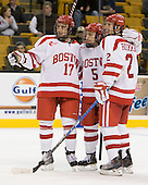 Matt Nieto (BU - 17), David Warsofsky (BU - 5), Ryan Ruikka (BU - 2) - The Harvard University Crimson defeated the Boston University Terriers 5-4 in the 2011 Beanpot consolation game on Monday, February 14, 2011, at TD Garden in Boston, Massachusetts.