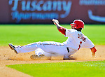 12 March 2011: Washington Nationals' infielder Ian Desmond slides into second during a Spring Training game against the New York Yankees at Space Coast Stadium in Viera, Florida. The Nationals edged out the Yankees 6-5 in Grapefruit League action. Mandatory Credit: Ed Wolfstein Photo