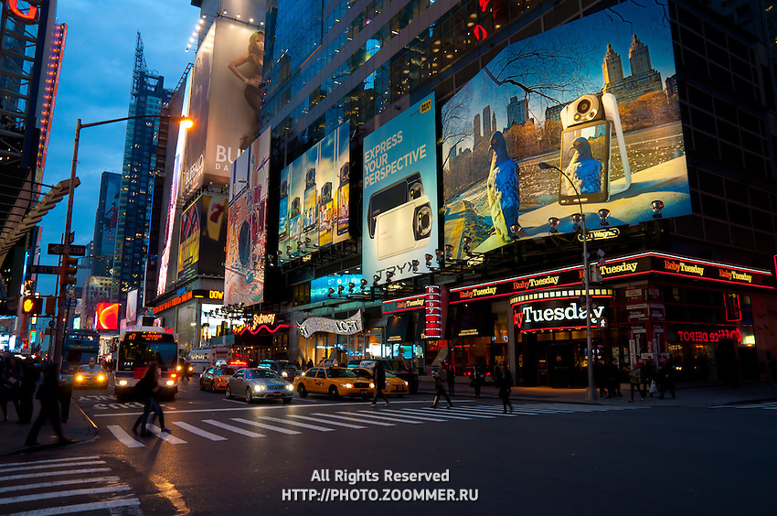 Advertising illumination and neon on Times Square in New York City, USA