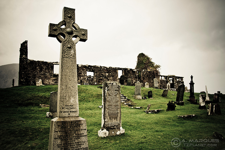Ruins of the Cill Chriosd Church and adjacent graveyard, near Loch Cill Chriosd, isle of Skye, Scotland.  <br /> The cemetery contains graves and headstones from medieval to contemporary times, and was used even after the church (Parish Church of Strath) became obsolete in 1843.