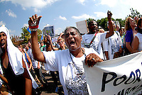 """SAINT PAUL, MN, September 1, 2008: Annette Toney was one of over 10,000 people who marched in the """"March on the RNC""""  which wound its way through downtown St. Paul and past the barricaded Xcel Center site of the 2008 Republican National Convention."""