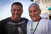 Haleiwa Hawaii,(Sunday November 21, 2010) Sunny Garcia (HAW) with Rabbit Kekia (HAW). .The Reef Hawaiian Pro wrapped up today with an emphatic victory by defending Triple Crown Champion Joel Parkinson (AUS). Parkinson had been out of competition for the past six months due to an horrific foot injury suffered in July..Local Haleiwa surfer and defending Reef Hawaiian Pro Champion Joel Centeio (HAW) was 2nd with Julian Wilson (AUS) 3rd and Heath Joske (AUS) in 4th..The third and final heat of the Clash of the Legends was also run today with Sunny Garcia (HAW) coming from behind to take out the clash. Mark Occhilupo (AUS) finished 2nd with early leader Tom Curren (USA) in 3rd and Tom Carroll (AUS) in 4th..Photo: joliphotos.com