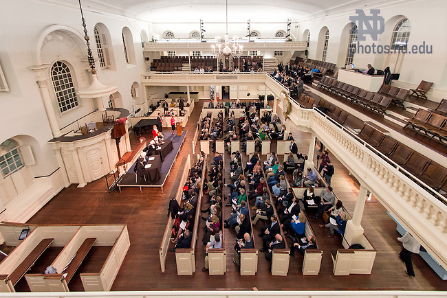 Nov. 19, 2015; Notre Dame Law School and Boston College Law School present a commemoration of the closing arguments from the trial of a British captain involved in the 1770 Boston Massacre, held in the Old South Meeting House in Boston. (Photo by Matt Cashore/University of Notre Dame)