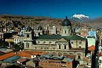 The Metropolitan or main cathedral in Plaza Murillo was built in 1835. Snowcapped Mount Illimani is seen in the background.