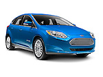 Blue 2012 Ford Focus Electric BEV isolated car on white background with clipping path