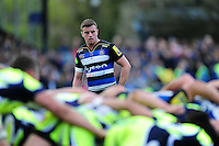 George Ford of Bath Rugby watches a scrum. Aviva Premiership match, between Bath Rugby and Sale Sharks on April 23, 2016 at the Recreation Ground in Bath, England. Photo by: Patrick Khachfe / Onside Images