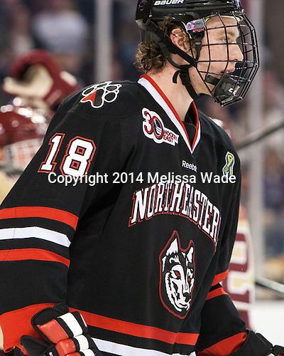 John Stevens (NU - 18) - The Boston College Eagles defeated the Northeastern University Huskies 4-1 (EN) on Monday, February 10, 2014, in the 2014 Beanpot Championship game at TD Garden in Boston, Massachusetts.
