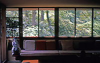 F.L. Wright: Fallingwater, interior from entryway.  Photo '76.