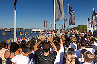 BRAZIL, Itajai. 6th April 2012. Volvo Ocean Race. Spectators welcome Puma Ocean Racing and Team Telefonica to Itajai.