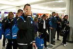 St Johnstone v Eskisehirspor....18.07.12  Uefa Cup Qualifyer.David McCracken clowning around during the queue for check-in at Edinburgh Airport.Picture by Graeme Hart..Copyright Perthshire Picture Agency.Tel: 01738 623350  Mobile: 07990 594431
