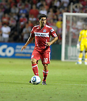 Chicago forward Nery Castillo (10) looks to pass.  The Chicago Fire tied the New York Red Bulls 0-0 at Toyota Park in Bridgeview, IL on August 8, 2010