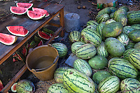Fresh watermelons for sale at the weekly food market in Fuli village, Yangshuo, Guangxi, China.