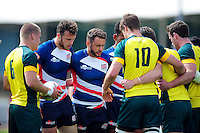 Great Britain players look on at a scrum. FISU World University Championship Rugby Sevens Men's Cup Final between Australia and Great Britain on July 9, 2016 at the Swansea University International Sports Village in Swansea, Wales. Photo by: Patrick Khachfe / Onside Images