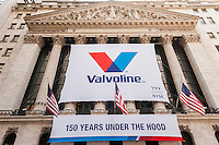 "The New York Stock Exchange is decorated on Friday, September 23, 2016 for the initial public offering of the motor oil and other fluids manufacturer, Valvoline. The company has been in business 150 years and it is being spun off from its owner Ashland, a maker of specialty chemicals. Valvoline will trade under the symbol ""VVV"".(© Richard B. Levine)"