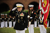 Joint Chiefs of Staff Vice Chairman United States Marine General James E. Cartwright salutes during the playing of the national anthem during a farewell ceremony in his honor at the U.S. Marine Corps Barracks, Washington, D.C., August 3, 2011. Cartwright is a target of a U.S. Justice Department investigation into a leak of information about a covert U.S.-Israeli cyberattack on Iran&rsquo;s nuclear program.<br /> Mandatory Credit: Jacob N. Bailey / DoD via CNP