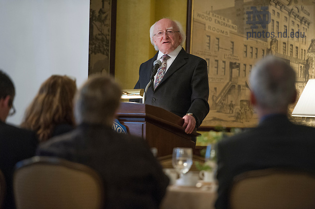 May 13, 2014; President of Ireland, Michael D. Higgins, speaks during a luncheon hosted by Keough-Naughton Institute for Irish Studies to celebrate the friendship between Notre Dame and Ireland at The Chicago Club in Chicago, IL. Photo by Barbara Johnston/University of Notre Dame