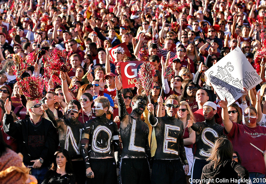 TALLAHASSEE, FL 11/27/10-FSU-UF FB10 CH-Florida State fans chop during the Florida game Saturday at Doak Campbell Stadium in Tallahassee. .COLIN HACKLEY PHOTO