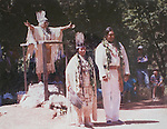 Winnemem chief and spiritual leader Caleen Sisk-Franco, center, and headman Mark Franco, right, are married by former Winneman chief Florence Jones on the McCloud River in 1990.