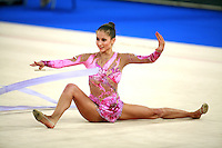 September 21, 2007; Patras, Greece;  Simona Peycheva of Bulgaria re-catches ribbon baton on carpet during All-Around final at 2007 World Championships Patras.  Simona placed 10th in the AA to  help Bulgaria to receive the 1st of 2 positions for the individual All-Around competition at Beijing 2008 Olympics and the possibility of making her second Olympic Games.  Photo by Tom Theobald. .