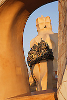 Group of chimneys, Roof, La Pedrera (Casa Milà), Barcelona, Catalonia, Spain, built by Antoni Gaudí (Reus 1852 ? Barcelona 1926), 1906 - 1910, for  Milà Family, with Joan Beltran as a plaster and  with Josep Maria Jujol as architect collaborator. One of the main Gaudi residential buildings. Picture by Manuel Cohen