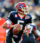 11 October 2009: Buffalo Bills' quarterback Trent Edwards looks downfield for a receiver during a game against the Cleveland Browns at Ralph Wilson Stadium in Orchard Park, New York. The Browns defeated the Bills 6-3 for Cleveland's first win of the season...Mandatory Photo Credit: Ed Wolfstein Photo