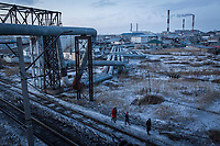 The piping of a district heating system, installed during the Soviet era, runs through much of the right bank of the city.