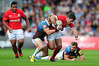 Brad Barritt of Saracens takes on the Harlequins defence. Aviva Premiership match, between Harlequins and Saracens on September 24, 2016 at the Twickenham Stoop in London, England. Photo by: Patrick Khachfe / JMP