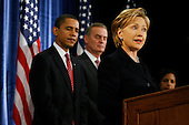 Chicago, IL - December 1, 2008 -- United States Senator Hillary Rodham Clinton (Democrat of New York), right, speaks to the press after being introduced as United States President-elect Barack Obama's, left, nominee for Secretary of State.  Obama also introduced James L. Jones, middle, chosen as national security advisor, and Susan Rice, far right, chosen as United Nations ambassador, Monday morning, December 1, 2008 at the Chicago Hilton & Towers in Chicago, Illinois..Credit: Anne Ryan - Pool via CNP