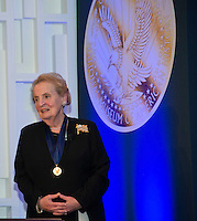 "Washington DC,September 7, 2016, USA:  The National Museum of American History presents its inaugural ""Great Americans"" award to  former Secretary of State, Madeleine K. Albright  Photo by Patsy Lynch/MediaPunch"