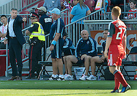 August 18, 2012: Sporting KC manager Peter Vermes appears to be pointing to Toronto FC defender Richard Eckersley #27 during an MLS game between Toronto FC and Sporting Kansas City at BMO Field in Toronto, Ontario Canada..Sporting Kansas City won 1-0.