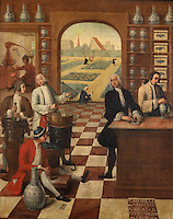 Painting of the apothecary Claude Morelos at work in the pharmacy of the Hospices de Beaune, by Michel Charles Coquelet Souville, 1751, at Les Hospices de Beaune, or Hotel-Dieu de Beaune, a charitable almshouse and hospital for the poor, built 1443-57 by Flemish architect Jacques Wiscrer, and founded by Nicolas Rolin, chancellor of Burgundy, and his wife Guigone de Salins, in Beaune, Cote d'Or, Burgundy, France. The painting shows the pounding of single drugs using a pestle and mortar, making medicine by heating mixtures, and distillation using stills heated on fires. The hospital was run by the nuns of the order of Les Soeurs Hospitalieres de Beaune, and remained a hospital until the 1970s. The building now houses the Musee de l'Histoire de la Medecine, or Museum of the History of Medicine, and is listed as a historic monument. Picture by Manuel Cohen