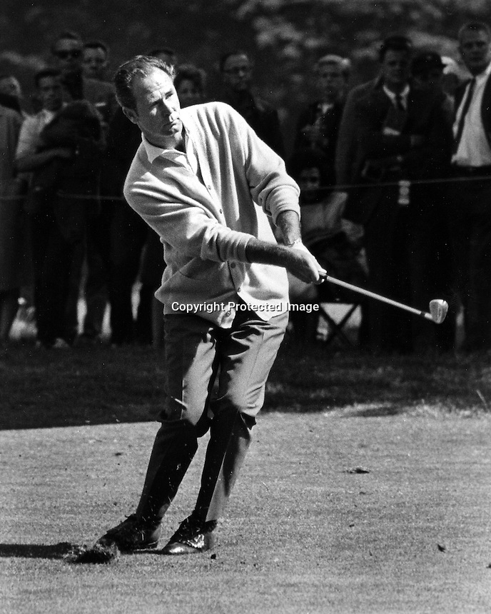 """Champane"" Tony Lema punches a shot during the 1966 U.S. Open golf championship at the Olympic Club in San Francisco, Ca. (1966 photo by Ron Riesterer)"
