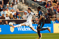 Robbie Keane (7) of the Los Angeles Galaxy is marked by Amobi Okugo (14) of the Philadelphia Union. The Los Angeles Galaxy defeated the Philadelphia Union 4-1 during a Major League Soccer (MLS) match at PPL Park in Chester, PA, on May 15, 2013.