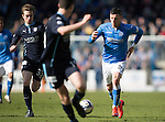 St Johnstone v Dundee....11.04.15   SPFL<br /> Michael O'Halloran is closed down by Craig Wighton<br /> Picture by Graeme Hart.<br /> Copyright Perthshire Picture Agency<br /> Tel: 01738 623350  Mobile: 07990 594431