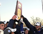 3 December 2006: UCSB players hold the NCAA Championship trophy high in postgame ceremonies. California-Santa Barbara defeated California-Los Angeles 2-1 at Robert R. Hermann Stadium in St. Louis, Missouri in the NCAA men's college soccer tournament final game to win the 2006 NCAA Championship.