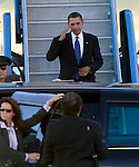 U.S President Barack Obama arrives on Air Force One at SFO, in San Francisco, Calif., on October 15, 2009.