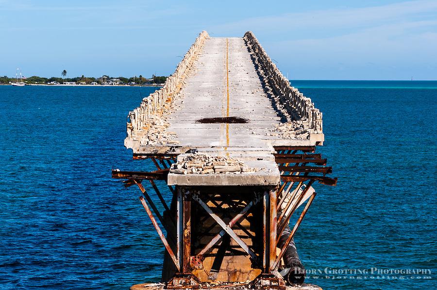 US, Florida Keys. Old Bahia Honda Bridge seen from Scout Key.