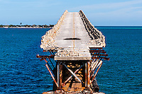 US, Florida Keys. Old Bahia Honda Bridge seen from Scout Key.