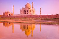 Taj Mahal seen from the Yamuna River    Agra, India   Taj Mahal World Heritage Site Built 1631 by Shal Jahan for wife Mumtaz Mahal