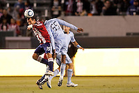 Chivas USA forward Alejandro Moreno (15) heads the ball squarely. Sporting KC defeated CD Chivas USA 3-2 at Home Depot Center stadium in Carson, California on Saturday March 19, 2011...