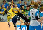 GER - Mannheim, Germany, September 23: During the DKB Handball Bundesliga match between Rhein-Neckar Loewen (yellow) and TVB 1898 Stuttgart (white) on September 23, 2015 at SAP Arena in Mannheim, Germany. Final score 31-20 (19-8) .  Gedeon Guardiola Villaplana #30 of Rhein-Neckar Loewen<br /> <br /> Foto &copy; PIX-Sportfotos *** Foto ist honorarpflichtig! *** Auf Anfrage in hoeherer Qualitaet/Aufloesung. Belegexemplar erbeten. Veroeffentlichung ausschliesslich fuer journalistisch-publizistische Zwecke. For editorial use only.
