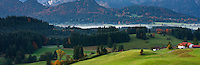 Rolling forest covered hills of the Allgaeu region as seen from village of Zell, Bavaria, Germany