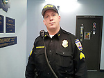 TORRINGTON, CT- 27 December 2013- 122713BJ01-- Torrington police Sgt. Michael D'Autorio shows off the new police department uniforms known as basic duty utility, which police officers say is more functional and offers plenty of pockets. Bruno Matarazzo Jr. Republican-American