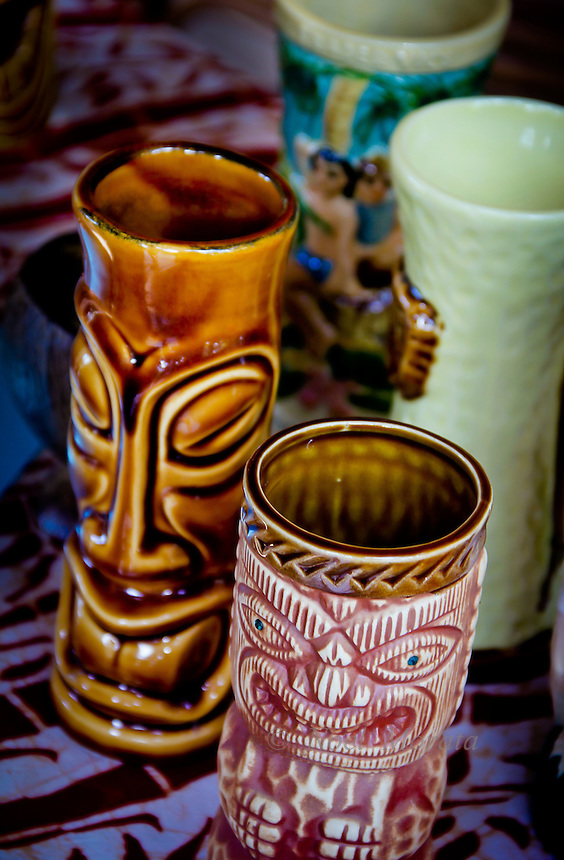 Tiki cup display at a pupu party in Hawaii and Hawaiian Lifestyle covering the people, activities, location, culture, unique traditions, art, food and culture