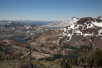 """Desolation Wilderness View 3"" - Photograph from a vista point of the Tahoe Desolation Wilderness. Susie Lake can be seen on the left, Half Moon Lake and Alta Morris Lake can be seen on the right, and a sliver view of Lake Aloha can be seen in the top distance."