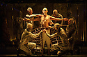 """EMBARGOED UNTIL FRIDAY 4th MARCH 2016, 7:30pm:  London, UK. 02.03.2016. English National Opera presents """"Akhnaten"""", composed by Philip Glass, and directed by Phelim McDermott. Picture shows: Anthony Roth Costanza (Akhnaten) and skills ensemble, Gandini Juggling. Photograph © Jane Hobson."""