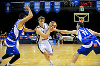 Finn Delaney in action during the national basketball league match between Wellington Saints and Nelson Giants at TSB Bank Arena in Wellington, New Zealand on Tuesday, 25 April 2017. Photo: Dave Lintott / lintottphoto.co.nz