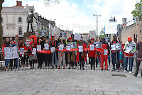 The rally supporters spell out &quot;Bring Back Our Girls&quot;.<br /> <br /> Cardiff, South Wales. Sunday May 11th 2014. Nigerians in Cardiff in organised rally in support of the 276 abducted school children in Chibok, Nigeria by Boko Haram terrorists. <br /> <br /> Photo by Jeff Thomas/Jeff Thomas Photography