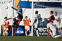 Akron GoalKeeper Anthony Ponikvar (00) clears the ball from the box. 2010 NCAA D1 College Cup Championship Final Akron defeated Louisville 1-0 at Harder Stadium on the campus of UCSB in Santa Barbara, California on Sunday December 12, 2010.